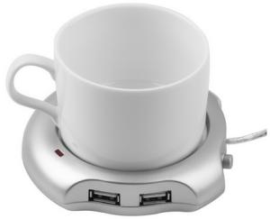 Silver 4 Port USB Hub + Tea Coffee Beverage Cup Electric Warmer Heater